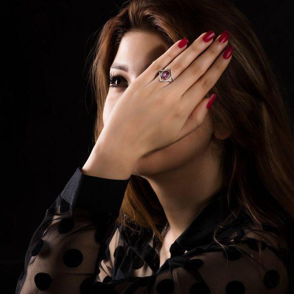 انگشتر نقره زنانه با نگین آمیتیست کد ۴۳۸