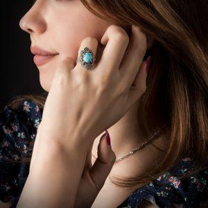 انگشتر نقره زنانه با نگین فیروزه نیشابور کد 444